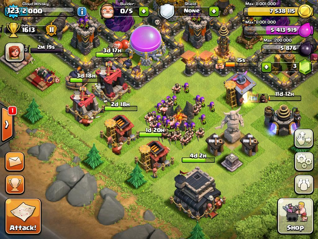 Clash of Clans waiting to finish construction