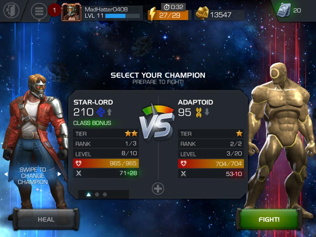 Marvel Contest of Champions with energy mechanics