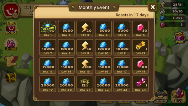 Summoners War's daily login calendar is a classic way of bringing progressive elements to daily appointment mechanics.