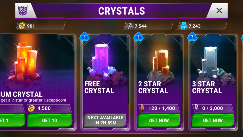Transformers: Earth Wars lets you claim one gacha-crystal for free every 8 hours