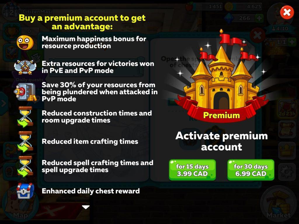 Prerium account offer in Hustle Castle: Medieval Life