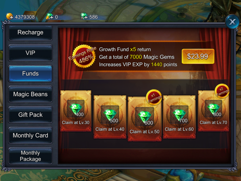 growth funds in In Goddess: Primal Chaos
