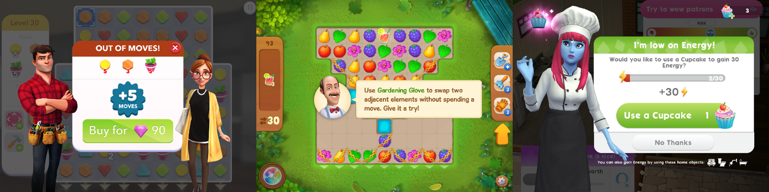 """Home Design Makeover, Gardenscapes and SIMS Mobile all use """"Continues"""", Boosters and Energy/lives to monetize their players"""