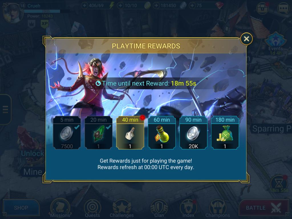 Online time rewards in Raid: Shadow Legends