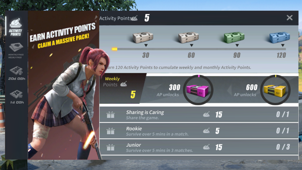 Periodical Rewards in Rules of Survival as appointment mechanics to keep players in game