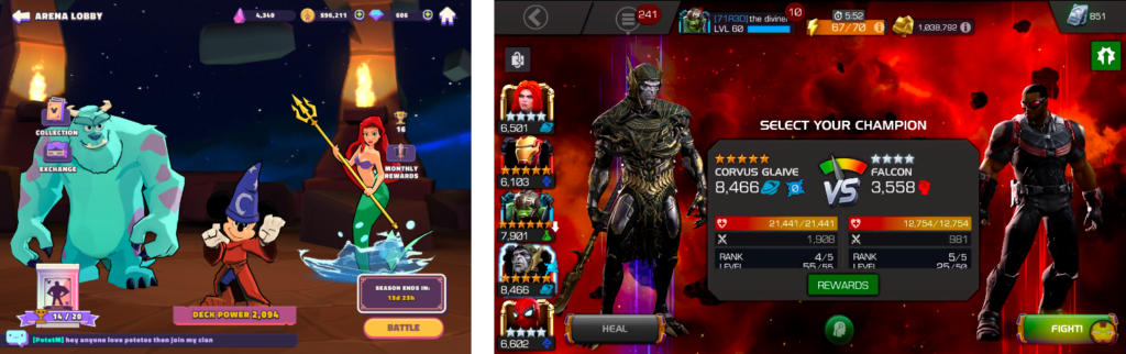 The character rosters of Disney Sorcerer's Arena and Marvel Contest of Champions