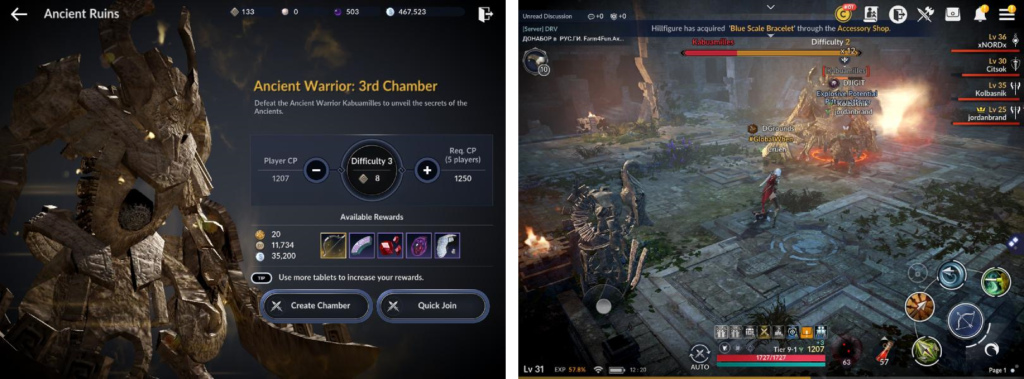 Black Desert Mobile uses synchronous PvE communal mechanic in its open world environment