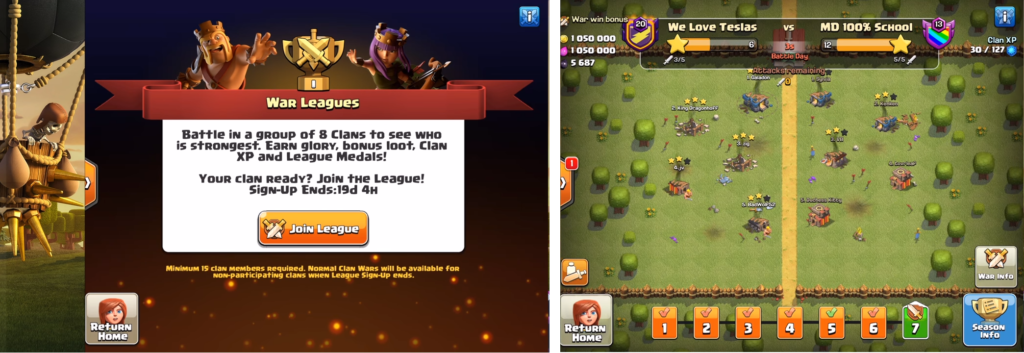 Clash of Clans' War Leagues is an excellent example of a guild war  communal mechanic in practice.