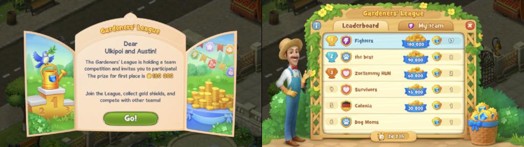 Gardenscapes's guild feature