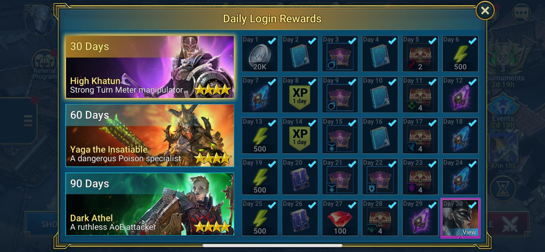 RAID: Shadow Legends Login Reward