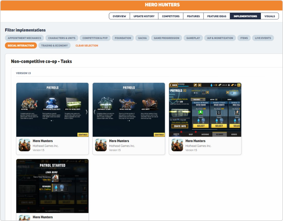social interaction features implementation examples in Hero Hunters