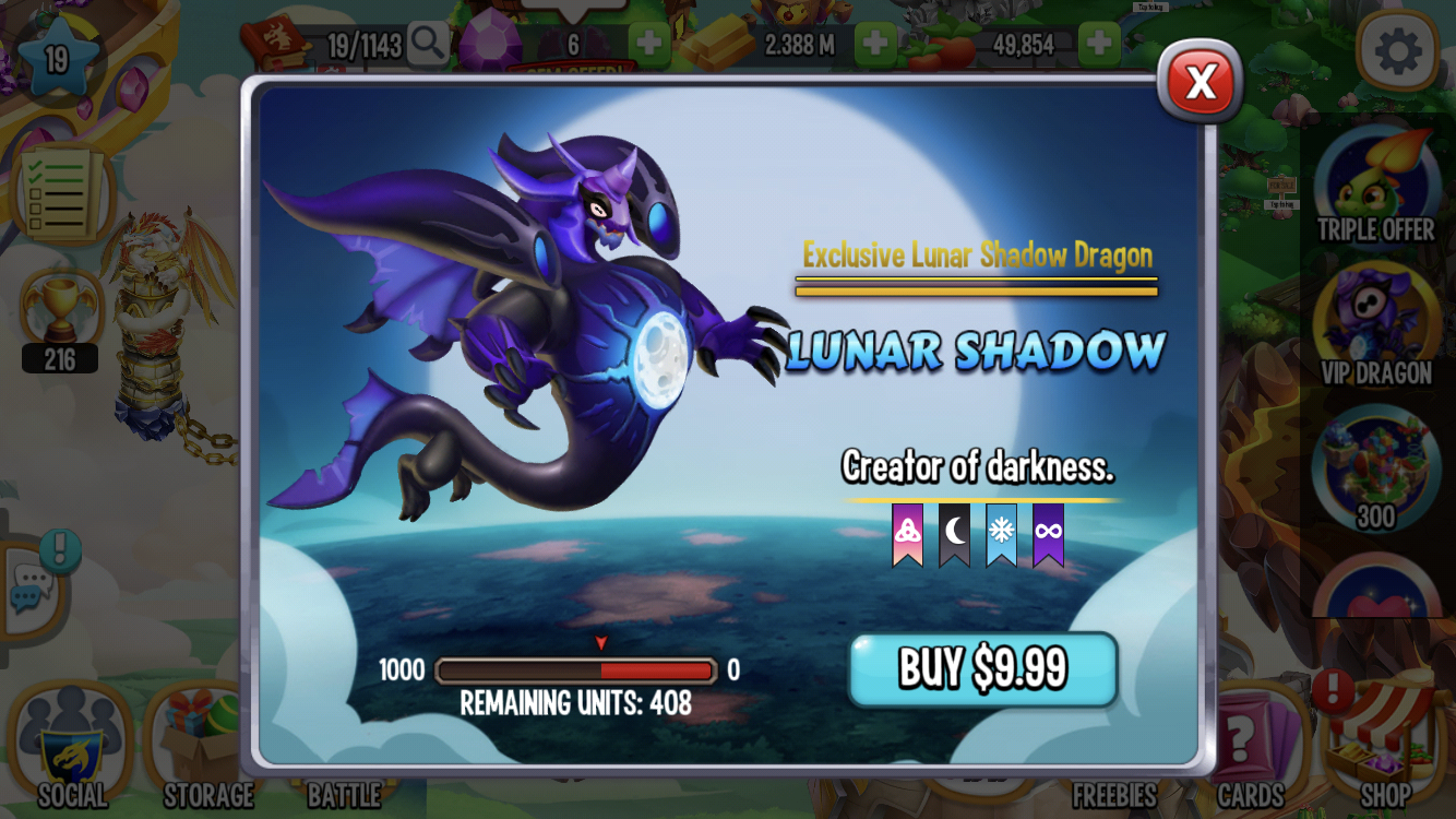 Dragon City Mobile limited time IAP example