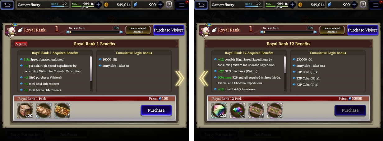 VIP System IAP monezation example in War of the Visions