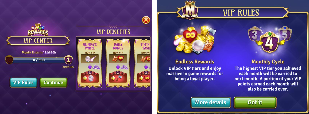 VIP System IAP monezation example in Wizards of Oz
