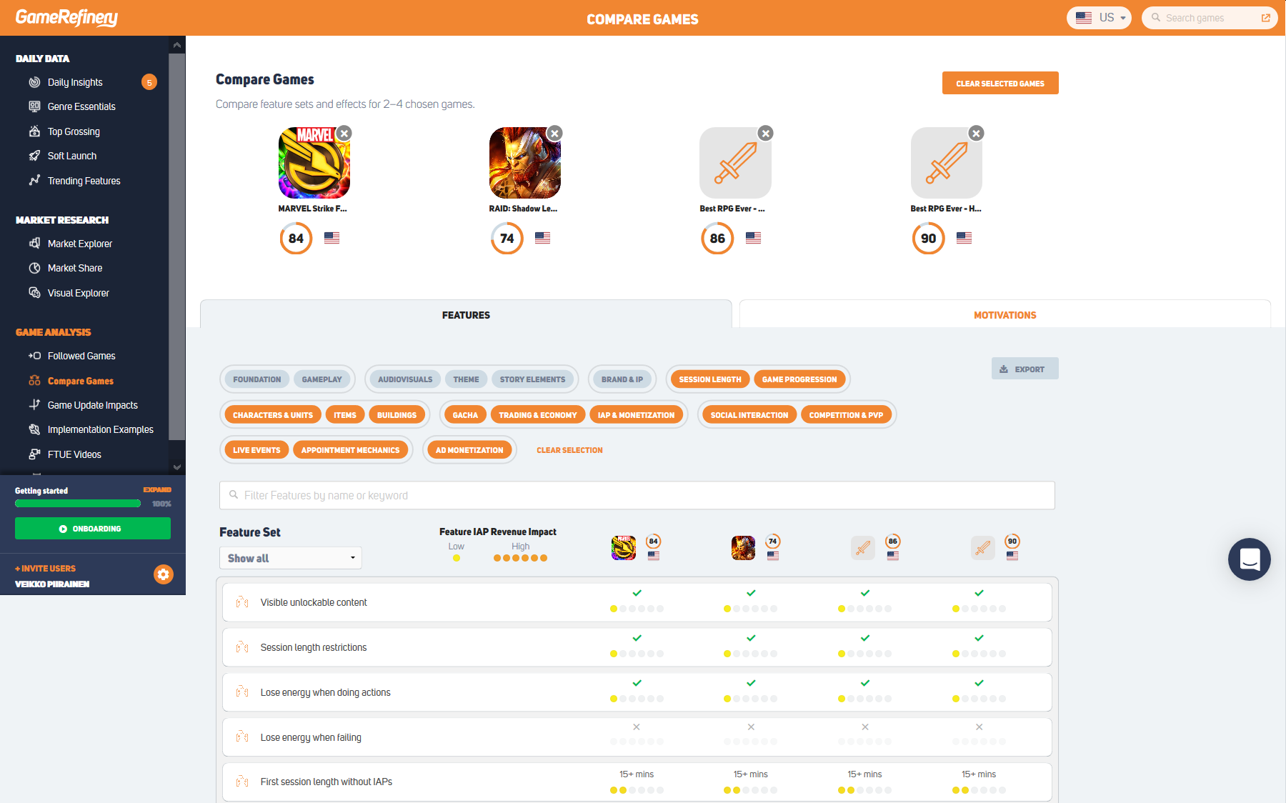 Compare mobile games in GameRefinery