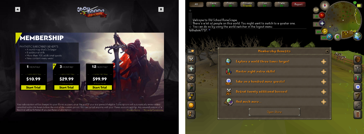 Subscription Plan in Old School Runescape mobile game