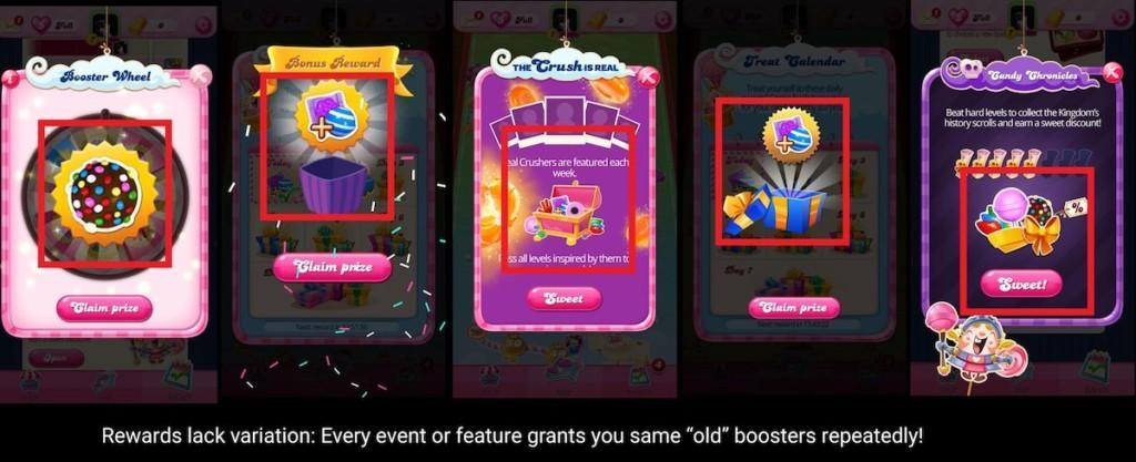 Rewards in Candy Crush