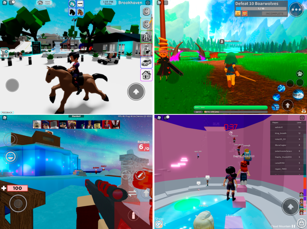 Different games in Roblox