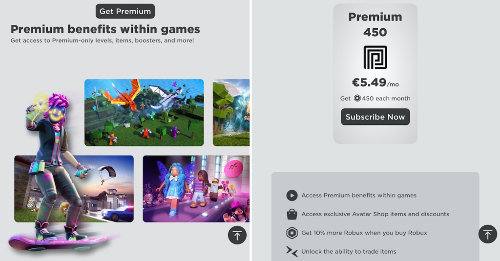 Subscription plan in Roblox
