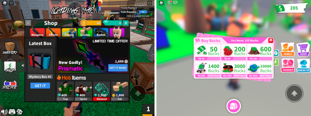 In-game shops Murder Mystery and Adopt Me!