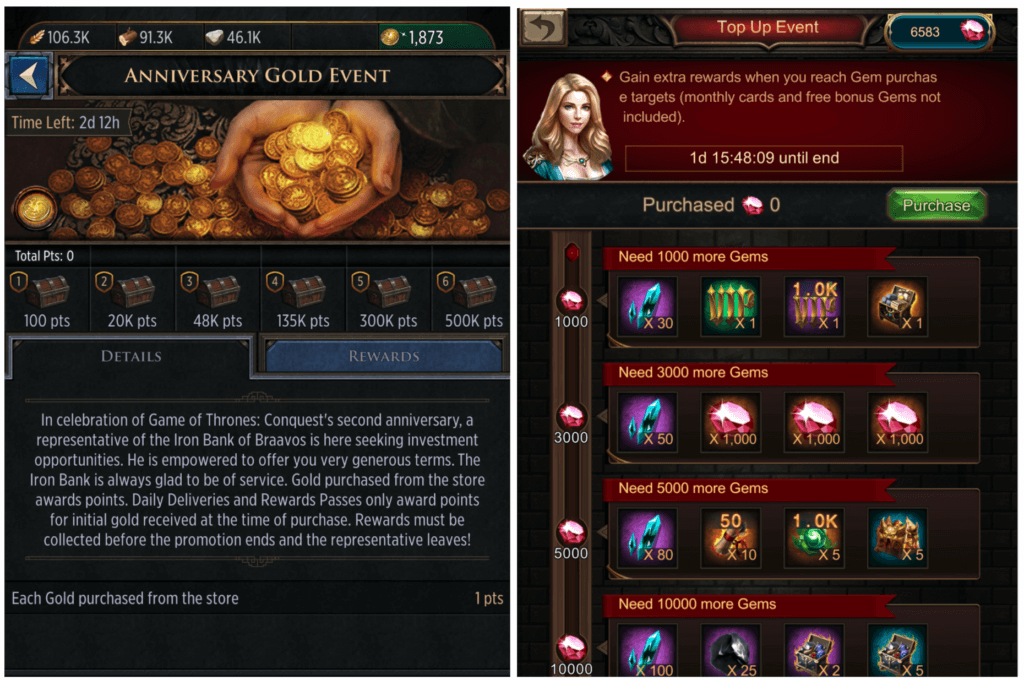 Progressive IAP reward events in Game of Thrones: Conquest and War & Order