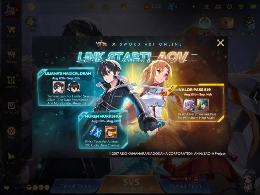Arena of Valor and Sword Art Online collaboration event