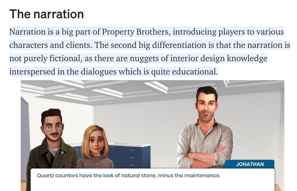 Narration in Property Brothers mobile game