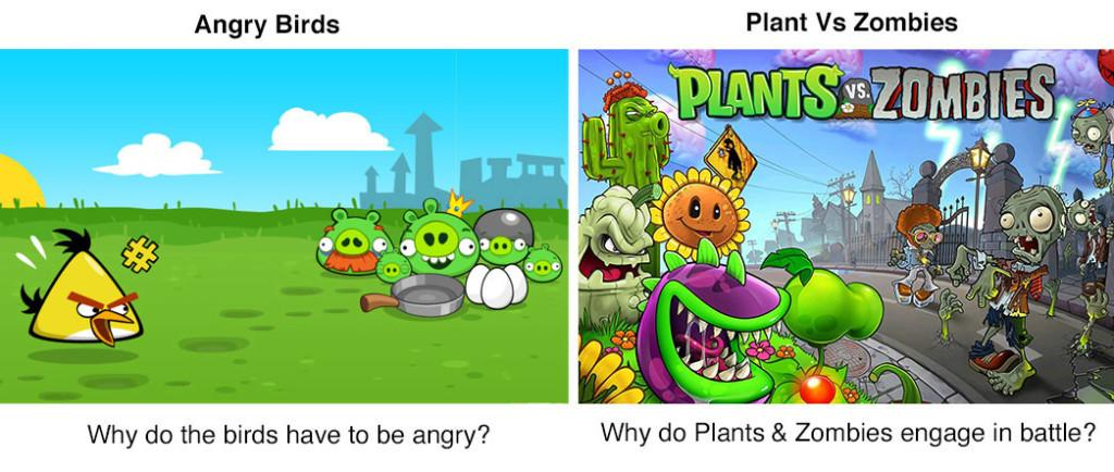 Storytelling in Angry Birds and Plants vs Zombies