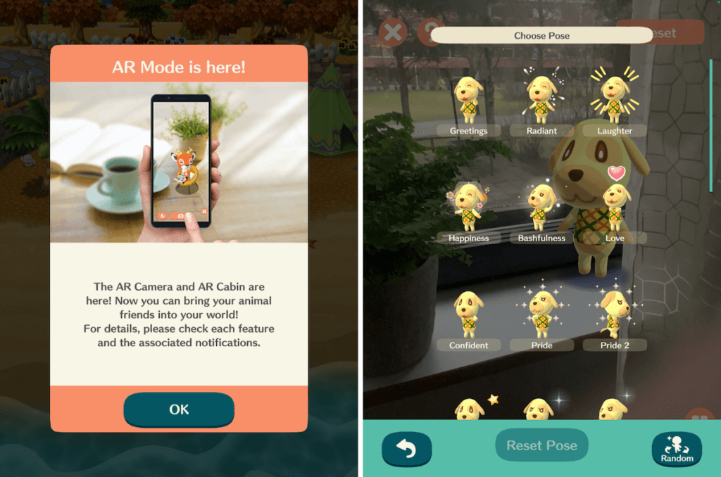 Animal Crossing Pocket Camp AR feature