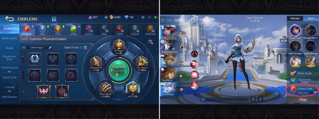 Emblem system in Mobile Legends