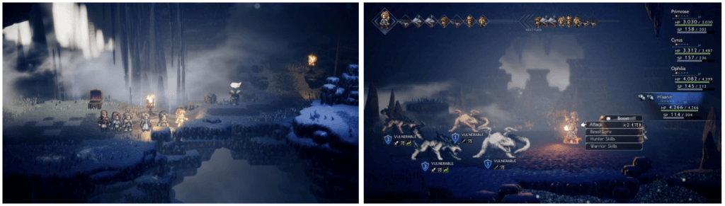 Exploration and battle screenshots from Octopath Traveler on Nintendo Switch.