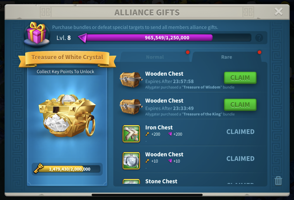 RoK alliance gifts