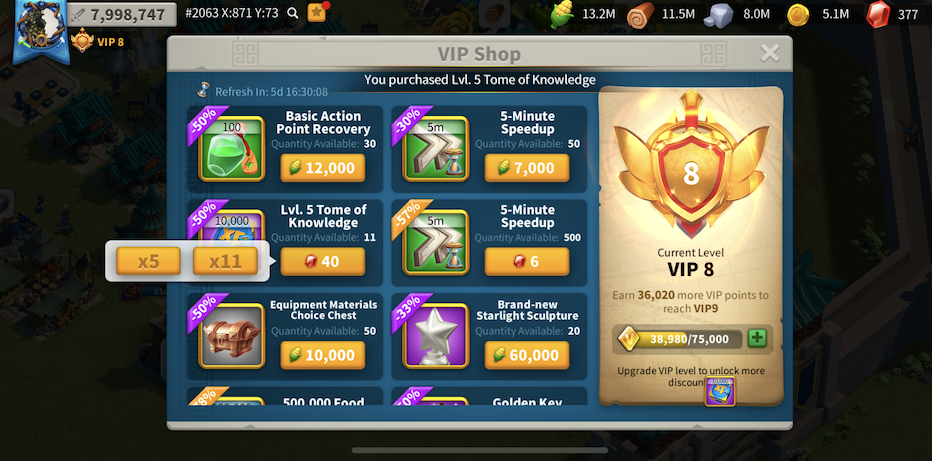 Rise of Kingdoms' VIP Shop