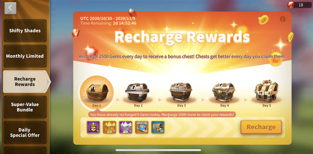 RoK recharge rewards