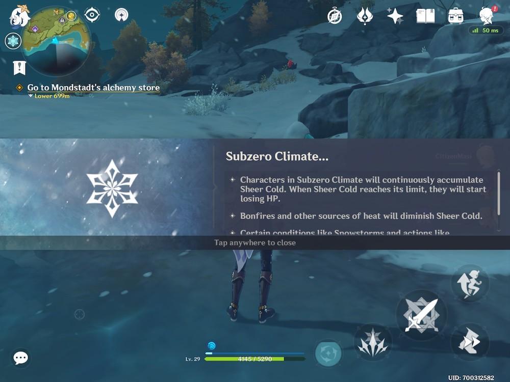 Mobile game Genshin Impact Subzero climate mechanic