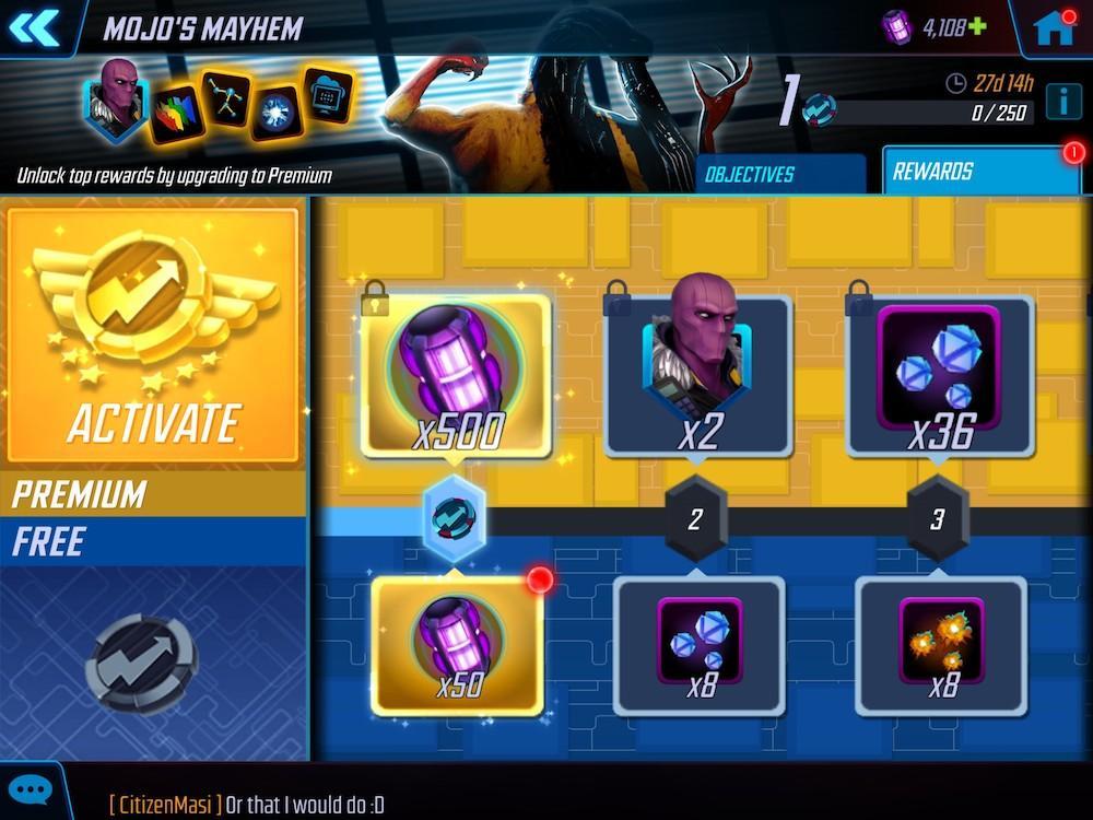 Mobile game Marvel Strike Force's Battle Pass