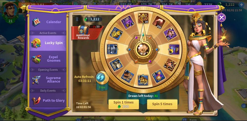 Infinity Kingdom wheel of fortune