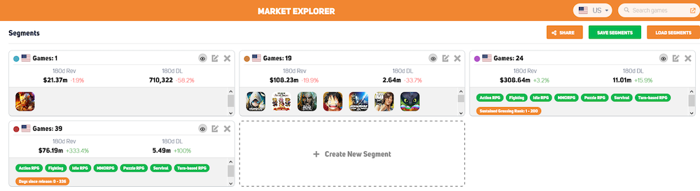 Feature research in GameRefinery's Market Explorer