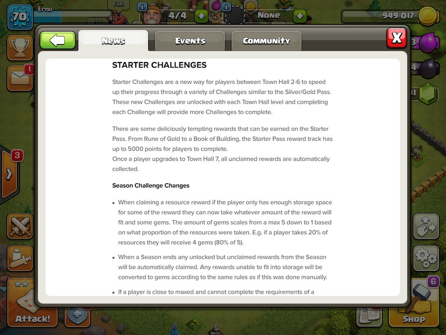 Clash of Clans' Starter Challenges feature