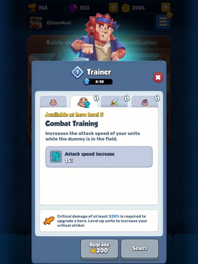 Mobile game Rush Royale's Hero system