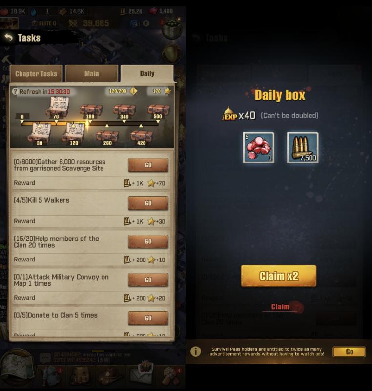TWD: Survivors Daily Rewards