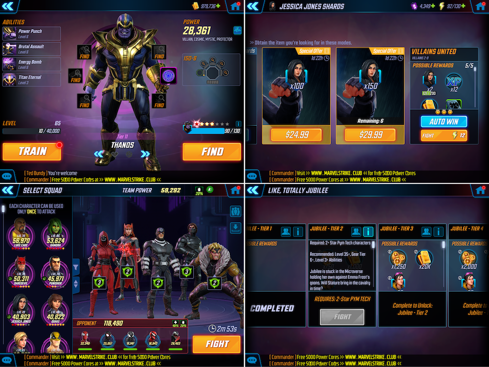 Marvel Strike Force character collection elements