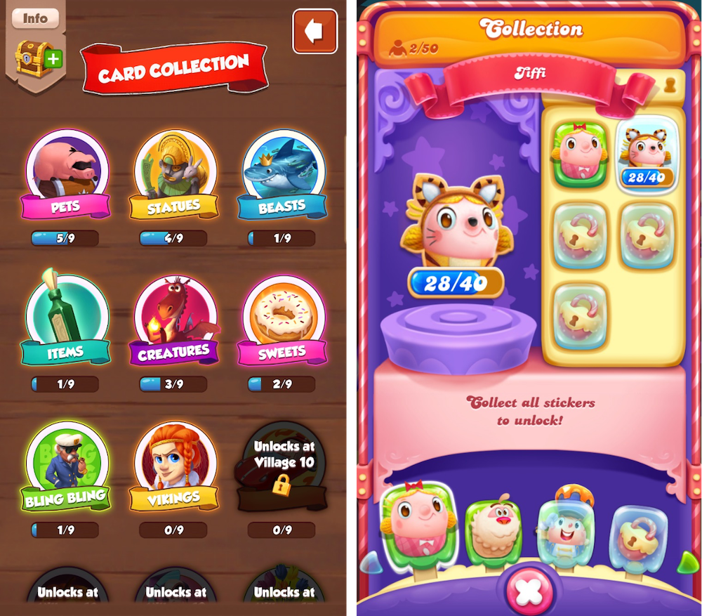 Collectible items in Coin Masters and Candy Crush Friends Saga