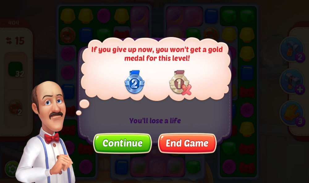 """Spend money to avoid """"loss"""" example in Gardenscapes"""