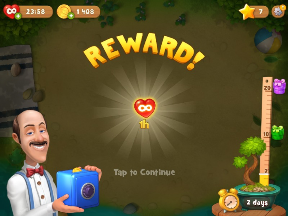 Unlimited life for one hour reward in Gardenscapes