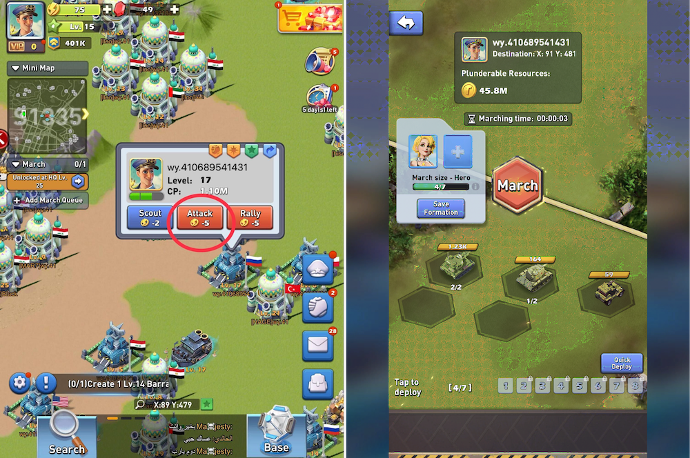 Top War: Battle Game - Attacking other players in the world map