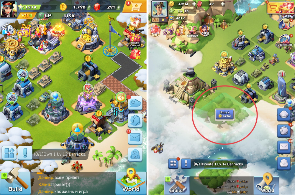 Top War: Battle Game - Players base and expanding the base by unlocking new area