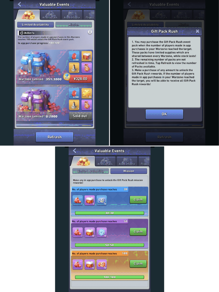 Top War: Battle Game Gift Pack Rush event