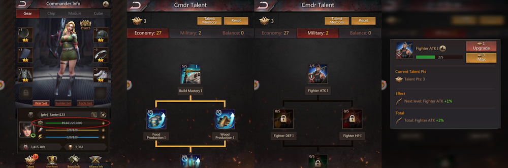 Player Talent System in mobile games