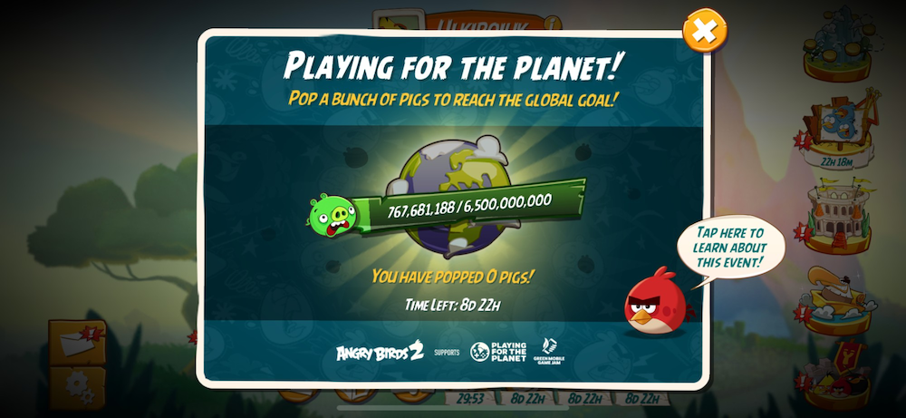mobile game Angry Birds 2's charity event